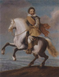 an equestrian portrait of prince frederick heinrich of the netherlands by pauwels van hillegaert