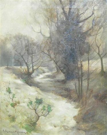 snow covered brook by robert russell macnee
