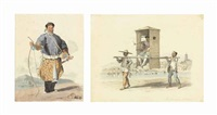a portrait of van-ta-zhin; and a chinese figure being carried in a common sedan chair (pair) by william alexander