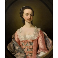 portrait of a lady, half length, in a feigned oval by thomas hudson
