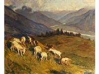 goats grazing on a hillside, mountains beyond by wilhelm hempfing