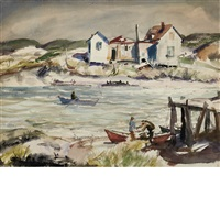 fisherman in an inlet and at the docks : a double-sided work by john whorf