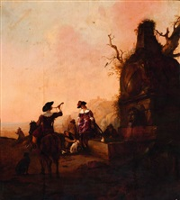 hunting party by a fountain by pieter cornelius verbeeck