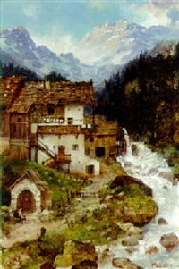a mill beside a river in the alps by hans pezzey