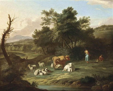 a wooded river landscape with drovers and their cattle at rest by isaac vogelsang