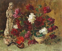 still life with pipe and peonies by traian cornescu