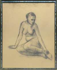 sitting nude by roman opalka