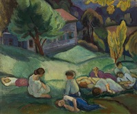 nine figures resting in landscape by bernard gussow