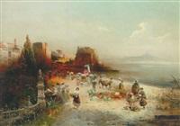 folkeliv på stranden ved neapel, med vesuvs silhouet by robert allot