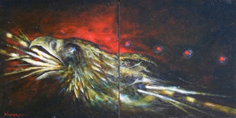 mwakwa eagle diptych by dale auger