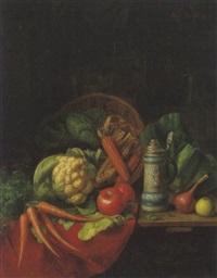 stilleben mit gemüse und steinkrug by moritz mansfeld