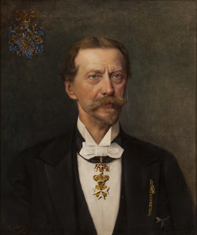 portrait of a gentleman with coat of arms by hanna von rothky