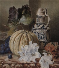 still life with a stoneware jug, pumpkin, lilies and grapes by valentine bartholomew