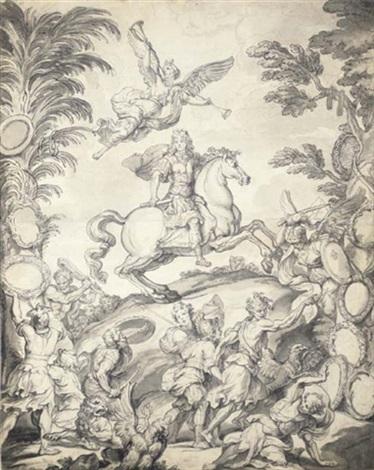 frontispice avec louis xiv à cheval au dessus duquel vole une allégorie de la renommée des soldats combattant au premier plan by antoine dieu