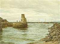 fishing boats of a jetty by john james bannatyne