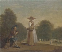 a lady selling peaches in a formal garden with an old man seated, elegant figures beyond by balthasar nebot