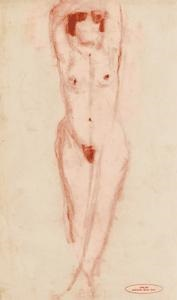 femme nue debout, bras levées by madeleine-marie aime