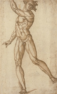 a standing male nude with his left arm raised by baccio bandinelli