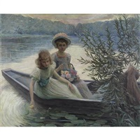 two little girls in a boat by camille metra