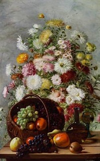 still life with chrysanthemum in a vase and a basket with grapes and apples by emma mulvad