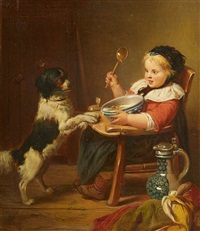 child with a dog by eduard geselschap