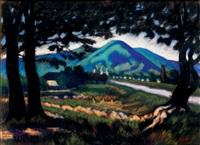 landscape in nagybánya with the kereszthegy by jános husovszky