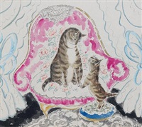 cat and kitten on a patterned armchair by anne hariet (sefton) fish