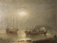 pêcheurs levant leurs filets by alfred godchaux