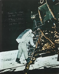 buzz aldrin prepares to step on the moon by neil armstrong