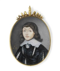 a boy called abraham cowley, in embroidered black silk doublet, slashed to reveal white shirt, lace lawn collar with tassels by david des granges