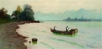 chiemseelandschaft mit fischerboot, im hintergrund blick auf die fraueninsel by carl leopold