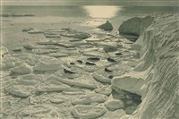 seals basking on pancake ice; midnight in antarctic summer (30 january 1912) (2 works) by herbert george ponting