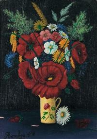 bouquet de fleurs dans un pot blanc orné d'une rose by camille bombois