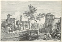 architektur-capriccio, pl. xxiii (from ansichten um venedig, after marco ricci) by davide antonio fossati