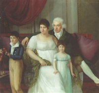portrait of a gentleman, his wife and two children in an interior by jérome-martin langlois
