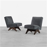 pair of lounge chairs from punjab university, chandigarh by pierre jeanneret