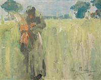 woman gleaning by harry becker