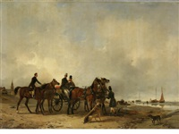 on the beach at zeebrugge by édouard-joris moerenhout