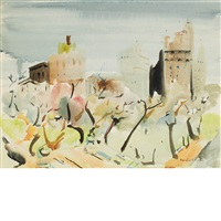 new york skyline with central park by fairfield porter