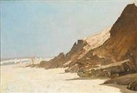 rocky beach scene with bathing people by harry kluge