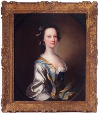portrait of miss parker wearing a white dress and blue cloak by james cranke