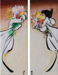 la brune et la blonde au bouquet (pair) by rené gruau