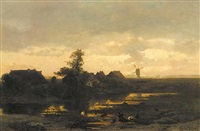 avondlandschap: farmhouses along a pool at dusk and a windmill in the distance by albertus gerardus bilders