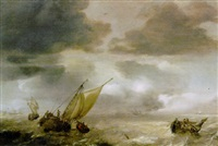 a wijdschip lowering sails with fishermen in a rowing boat hauling in their nets, as a storm approaches by julius porcellis