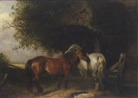 horses by a stable by arthur james stark