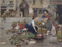 venezianische blumenverkäuferin by cesare vianello
