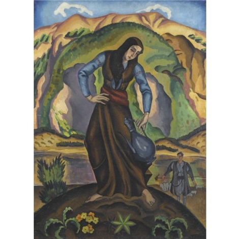 woman watering plants by agenor asteriadis