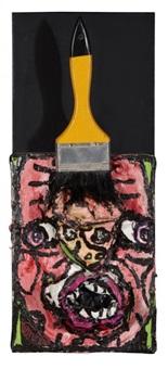 un pinceau sur le front, a frontal, frontalier du frond de mère by robert combas