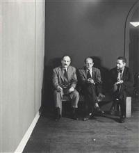 barnett newman, jackson pollock and tony smith at the betty parsons gallery, new york by hans namuth