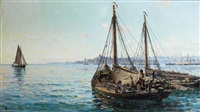 herring boats off aberdeen by hamilton macallum
